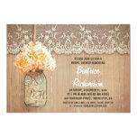 rustic mason jar hydrangea bloom bridal shower custom announcement