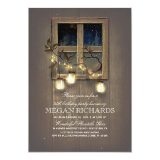 Rustic Mason Jar Lights Barn Birthday Party Card
