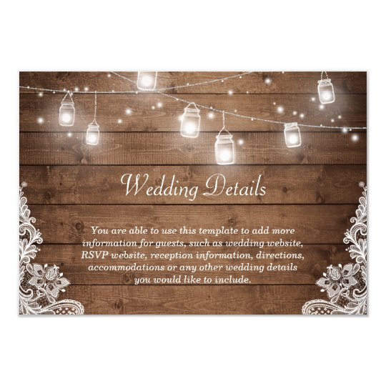 Rustic Mason Jar Lights Lace Wedding Details Info Card