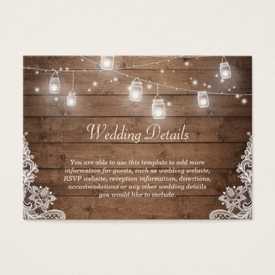 Rustic Mason Jar Lights Lace Wedding Info Details Business Card