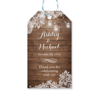 Rustic Mason Jar Lights Lace Wedding Thank You
