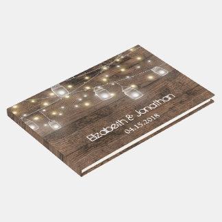 Rustic Mason Jar Lights Modern Guest Book