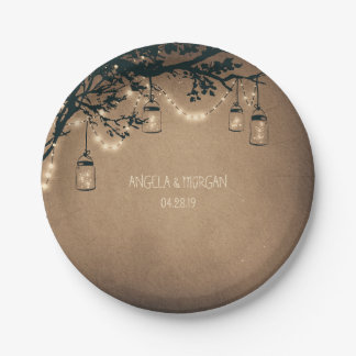 Rustic Mason Jar Lights Tree Wedding 7 Inch Paper Plate