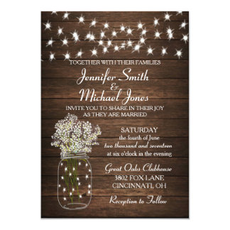 Rustic Mason Jar & Lights Wedding Invitation