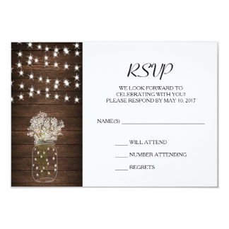 Rustic Mason Jar & Lights Wedding RSVP Card