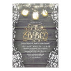 Rustic Mason Jar Lights Wood and Lace I Do BBQ Card