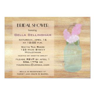 Rustic Mason Jar Lilacs Bridal Shower Invitation