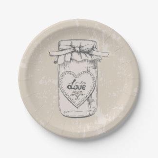 Rustic Mason Jar Love Heart Tan Brown Wedding Paper Plate