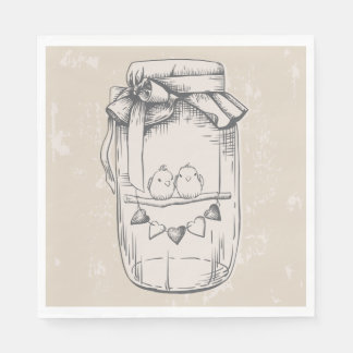 Rustic Mason Jar Lovebirds Tan Brown Wedding Disposable Serviette