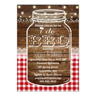 Rustic Mason Jar Old Wood I DO BBQ Invite