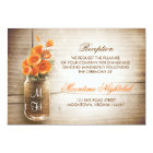 Rustic mason jar orange flowers reception card