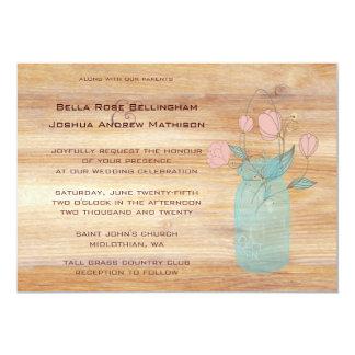 Rustic Mason Jar Peach Flowers Wedding Invitation