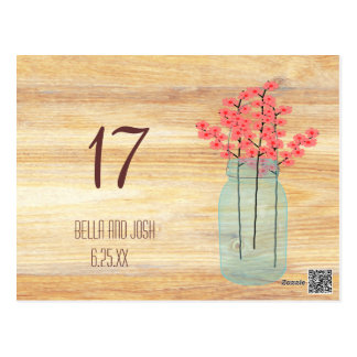 Rustic Mason Jar Peach Flowers Wedding Table Card Postcard
