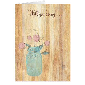 Rustic Mason Jar Peach Flowers Will You Be My Note Card