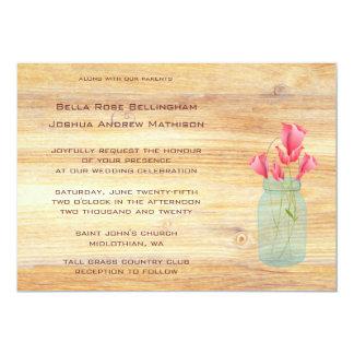 Rustic Mason Jar Peach Roses Wedding Invitation