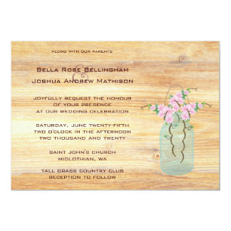 Rustic Mason Jar Pink Azaleas Wedding Invitation