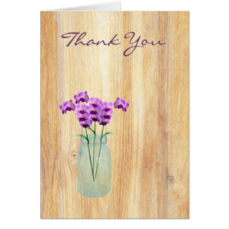 Rustic Mason Jar Purple Orchids Thank You Note Cards