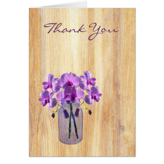 Rustic Mason Jar Purple Orchids Thank You Note Greeting Card