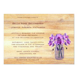 Rustic Mason Jar Purple Orchids Wedding Invitation
