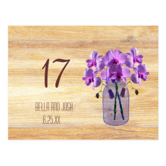 Rustic Mason Jar Purple Orchids Wedding Table Card Post Cards