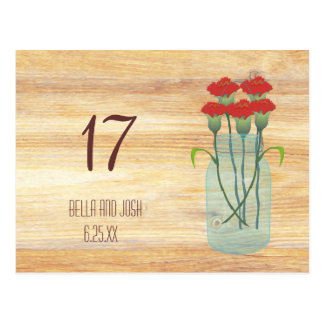 Rustic Mason Jar Red Carnations Wedding Table Card Post Card