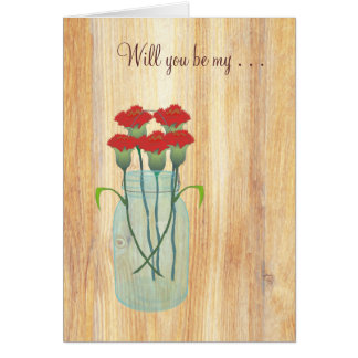 Rustic Mason Jar Red Carnations Will You Be My Note Card