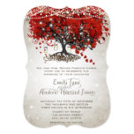 Rustic Mason Jar Red Heart Leaf Tree Wedding Invites