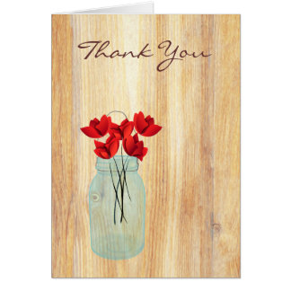 Rustic Mason Jar Red Poppies Thank You Note Greeting Cards