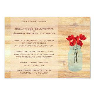Rustic Mason Jar Red Poppies Wedding Invitation