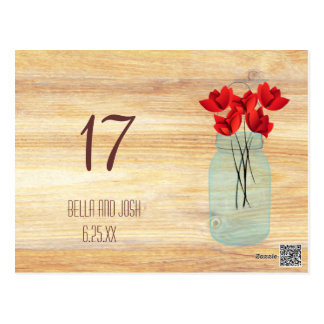 Rustic Mason Jar Red Poppies Wedding Table Card Postcards