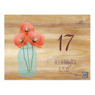 Rustic Mason Jar Red Poppies Wedding Table Number Postcard