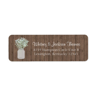 Rustic Mason Jar Return Address Return Address Label