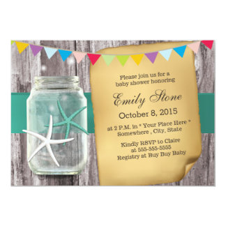 Rustic Mason Jar & Starfish Baby Shower 13 Cm X 18 Cm Invitation Card