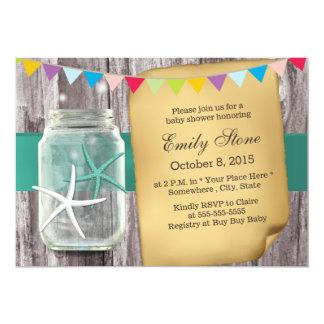 Rustic Mason Jar & Starfish Baby Shower Card