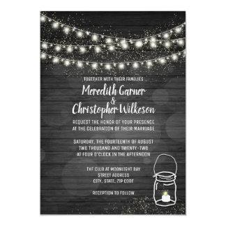 Rustic Mason Jar String Lights Black Wood Wedding Card