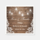 Rustic Mason Jar String Lights Lace Love Thanks Paper Napkin