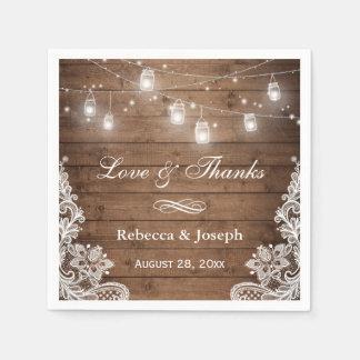 Rustic Mason Jar String Lights Lace Love Thanks Paper Napkin