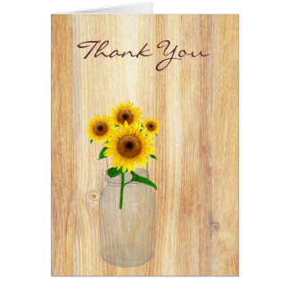 Rustic Mason Jar Sunflowers Thank You Note card