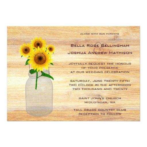 Rustic Mason Jar Sunflowers Wedding Invitation