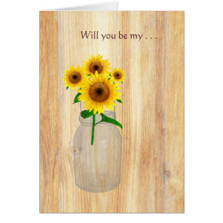 Rustic Mason Jar Sunflowers Will You Be My Cards