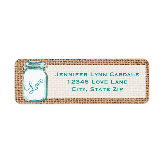 Rustic Mason Jar Teal Burlap Wedding Address Label