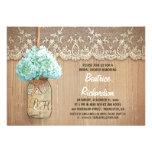 rustic mason jar turquoise hydrangea bridal shower custom invite