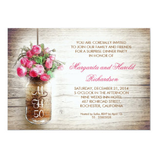 rustic mason jar wedding anniversary invitations