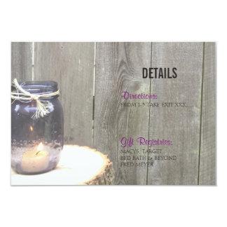 Rustic Mason Jar Wedding Details Template Card