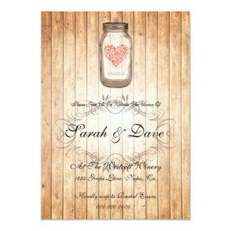 Rustic Mason Jar Wedding Invitation