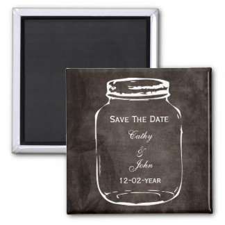rustic mason jar wedding save the date square magnet