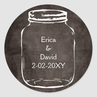 rustic mason jar wedding seals round sticker