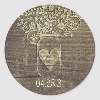 Rustic Mason Jar Wedding Stickers