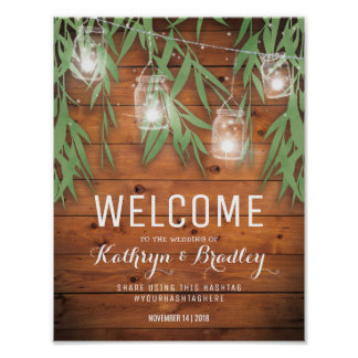 Rustic Mason Jar Wedding | Willow Twinkle Lights Poster