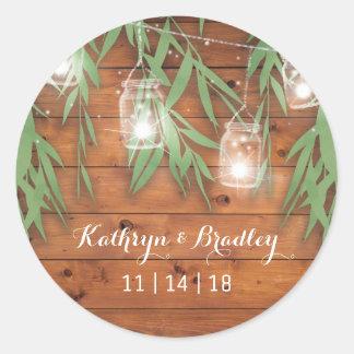 Rustic Mason Jar Wedding | Willow Twinkle Lights Round Sticker